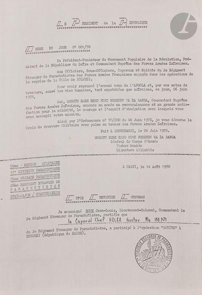 ZAÏRE Croix de la Bravoure donnée aux militaires du 2e REP. En bronze. Ruban avec...