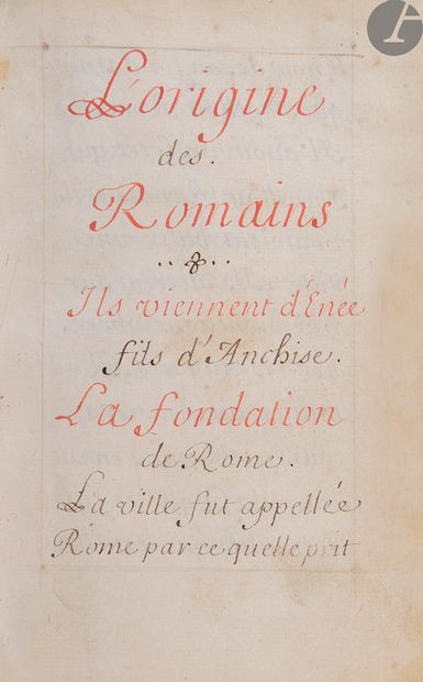 [ANTIQUITÉ]. [ROME]. L'origine des Romains...