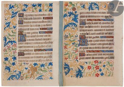 [ENLUMINURE]. Deux feuillets manuscrits enluminés...