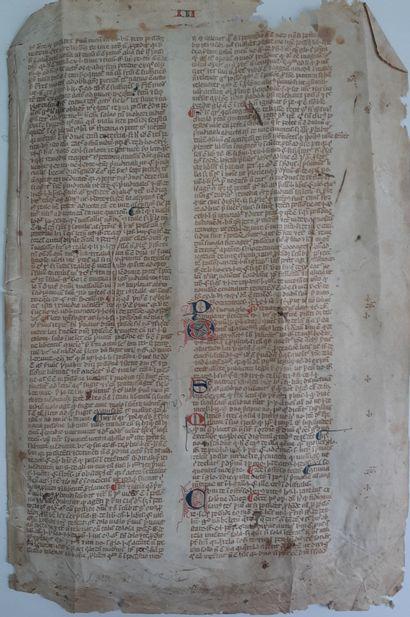[DROIT]. [JUSTINIEN] Feuillet manuscrit extrait...
