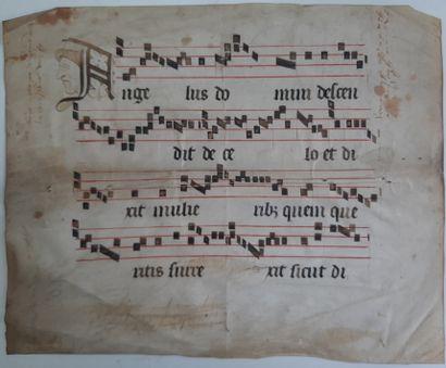 [ENLUMINURE]. Partie de feuillet manuscrit...
