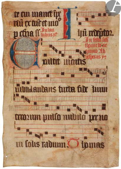 [ENLUMINURE]. Trois feuillets manuscrits...