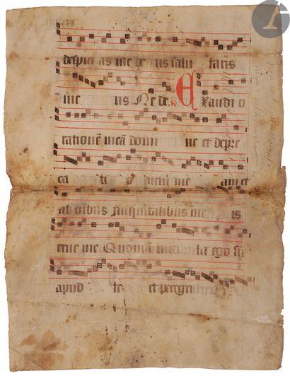 [ENLUMINURE]. Feuillet manuscrit décoré extrait...