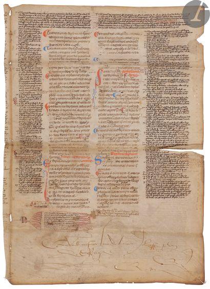 [DROIT]. [JUSTINIEN]. Feuillet manuscrit...