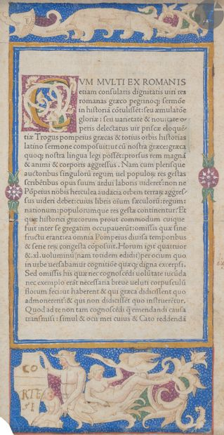 [ENLUMINURE]. [INCUNABLE]. [JUSTINUS] Page-frontispice,...