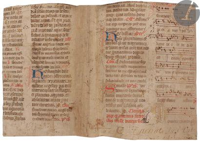 [ENLUMINURE]. Bifeuillet manuscrit extrait...