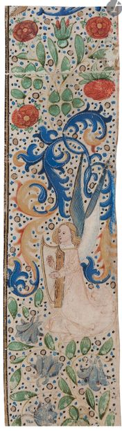 [ENLUMINURE]. Ange jouant de la harpe Bordure...