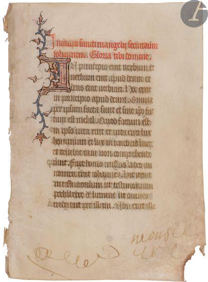 [ENLUMINURE]. Feuillet manuscrit enluminé...