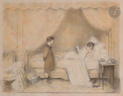 Jean Veber (1864-1928) La Leçon. 1907. Lithographie....