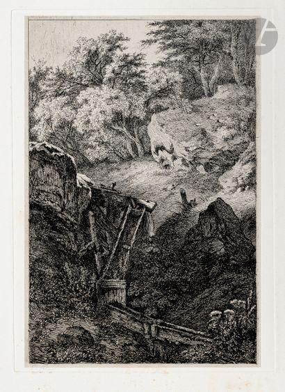 Eugène Bléry (1805-1886) Les Chéneaux. Eau-forte....