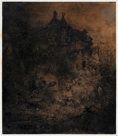 Rodolphe Bresdin (1822-1885) Paysage à la...
