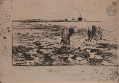 Félix Buhot (1847-1898) Les Pêcheurs de moules....