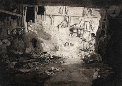 Rodolphe Bresdin (1822-1885) Intérieur paysan. Vers 1855-1858. Dessin à la plume...
