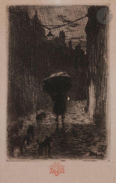 Félix Buhot (1847-1898) Pluie et parapluie....