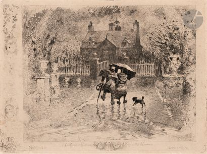 Félix Buhot (1847-1898) Les Voisins de campagne....