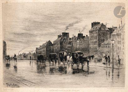 Félix Buhot (1847-1898) Une matinée d'hiver,...