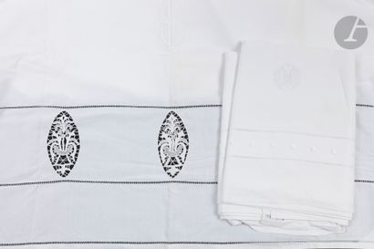 Lot de 7 draps dont 1 drap incrustations...