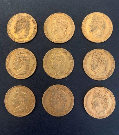 9 pièces de 20 Francs en or. Type Louis...