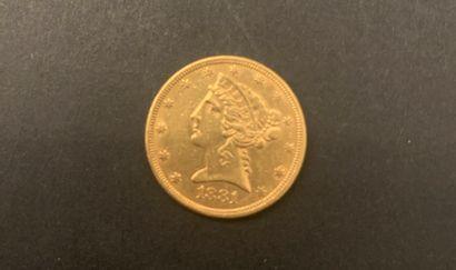 1 pièce de 5 Dollars en or. Type Liberty....