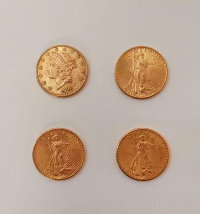 4 pièces de 20 Dollars en or, dans un sachet...