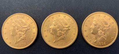 3 pièces de 20 Dollars. Type Liberty. 1878...