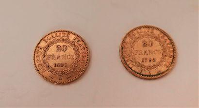 2 Pièces 20 Francs en or. Type Génie.1894...