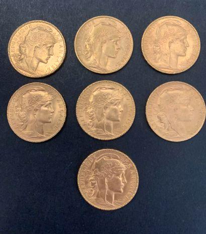 7 pièces de 20 Francs en or. Type Coq. 1902...
