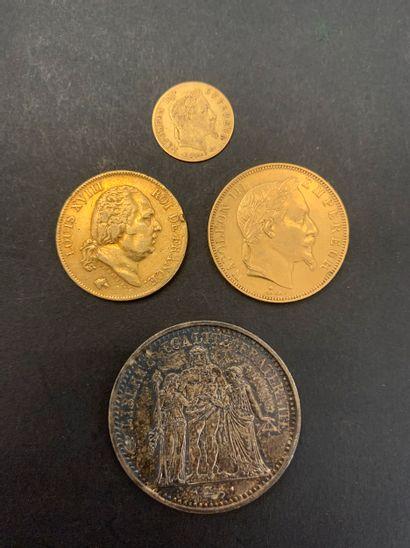 Lot de 3 pièces françaises en or: - 1 pièce...