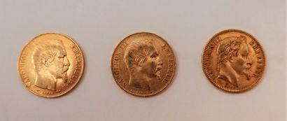 3 Pièces de 20 Francs or en or: - 2 pièce...