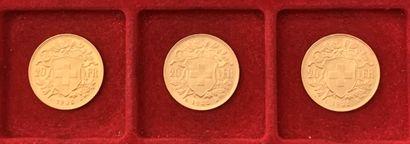 3 pièces de 20 Francs suisses en or. 1935...