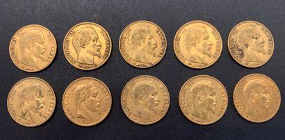 10 pièces de 20 Francs en or. - 9 pièces...