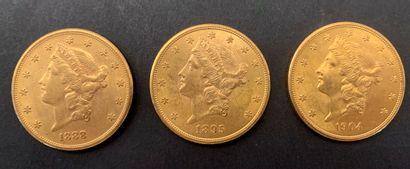 3 pièces de 20 Dollars. Type Liberty.1888...