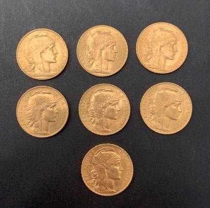 7 pièces de 20 Francs en or. Type Coq. 1910...