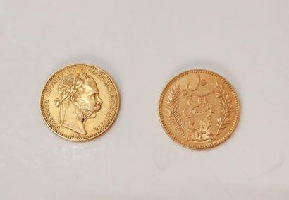 Lot de 2 pièces étrangères en or : - 1 pièce...