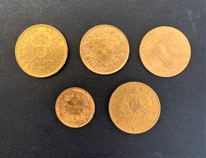 Lot de 5 pièces en or : - 1 pièce de 20...