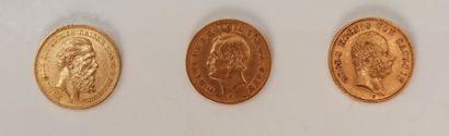 Lots de 3 pièces de 20 Marks en or: - 2...