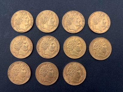 11 pièces de 20 Francs en or. Type Cérès....