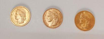 3 pièces de 20 Francs suisses en or. Type...