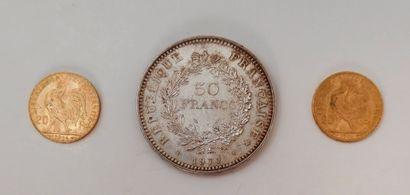 2pièces 20 Francs en or. Type Coq. 1906...
