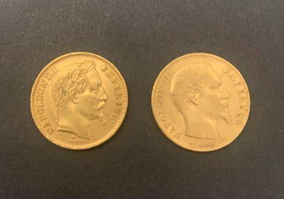 2 pièces de 20 Francs en or : - 1 pièce...
