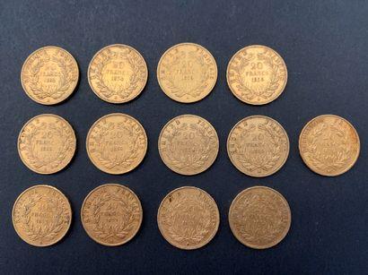 13 pièces de 20 Francs en or. Type Napoléon...