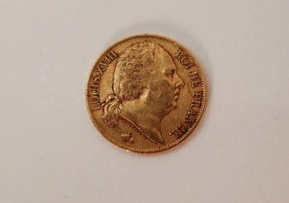1 pièce de 20 Francs en or. Type Louis XVIII....