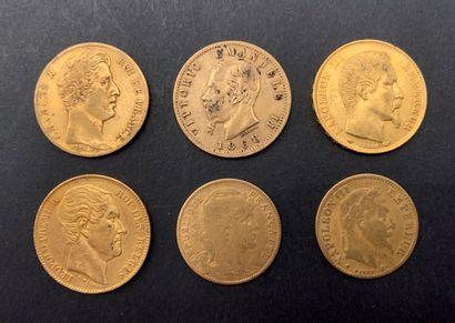 4 pièces de 20 Francs en or & 2 pièces de...