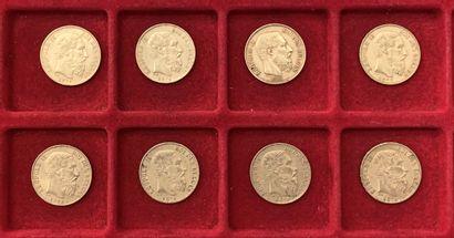 8 pièces de 20 Francs en or. Type Léopold...