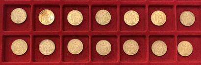 14 pièces de 20 Francs en or. Type Génie....