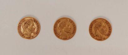 Lot de 3 pièces de 10 Francs en or. Type...