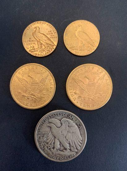 Lot de 4 pièces en or, américaines : - 2...