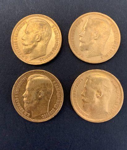 4 pièces de 15 Roubles. Type Nicolas II....