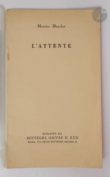 BLANCHOT (Maurice). L'Attente. Rome : Botteghe...