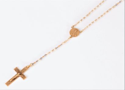 Chapelet en or 18K (750) et perles baroques,...